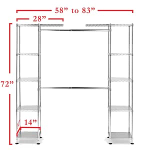 seville classics freestanding metal steel expandable slip sleeve closet organizer wardrobe clothes