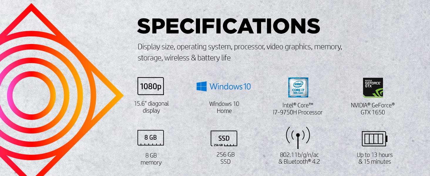 15.6 inch display Windows 10 NVIDIA GeForce GTX 1650 Intel Core i7-9750H 8gb 256gb 6gb dedicated