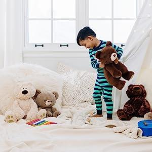 classic snuffled stuffed animal plush gund beige taupe light brown baby jumbo bear plushie stuffie