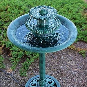 Alpine Tiered Classic Pedestal Garden Water Fountain And Birdbath, Dark  Verdigris Green Finish