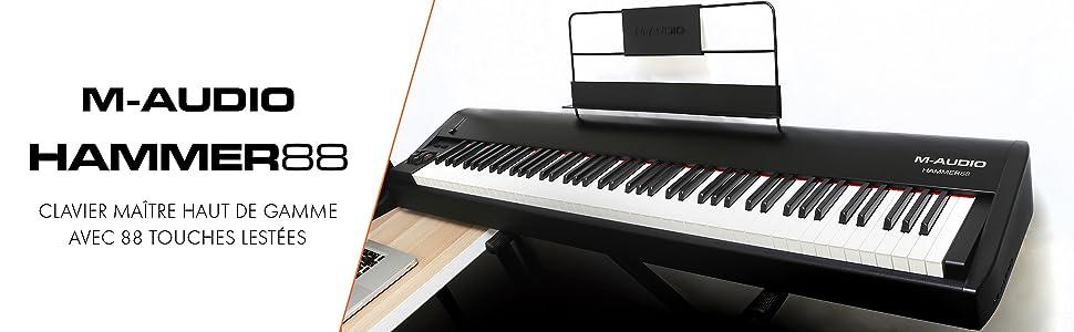 M-Audio - Hammer 88 - Clavier - Maître Haut de Gamme avec 88 Touches Lestées avec Suite de Logiciels Pro de Musique - Noir