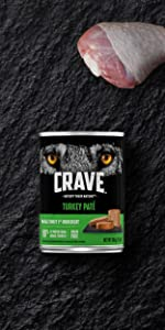 Crave Adult Wet Dog Food Turkey, Real Turkey 1st Ingredient, Real Meat, Dog Food Pate, Protein Rich