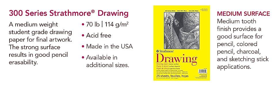Medium surface, medium weight drawing paper. Student grade paper for final artwork. Artist sketch