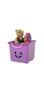 Iris Ohyama, set - 2 grandes boîtes de rangement pour jouet sur roulette - Smiley Kids Boxes