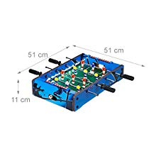 Relaxdays Futbolín de Mesa, con luz led, Mini Juego para Niños y Adultos, 4 Barras y 2 Pelotas, DM-Plástico, Azul, Color (10024099): Amazon.es: Juguetes y juegos