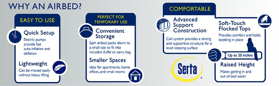 airbed, easy, quick, convenient, lightweight, serta