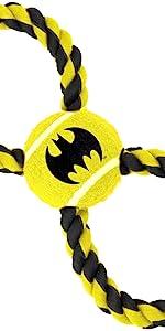Batman Logo Shield Bruce Wayne Dark Knight Rope Tennis Ball Tug Toy Dog Pet DC Comics Justice League
