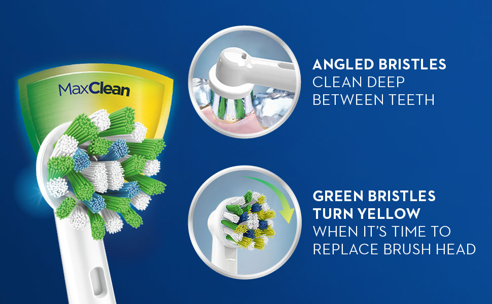 Oral-B CrossAction refills with angled bristles that turn yellow when it's time to change