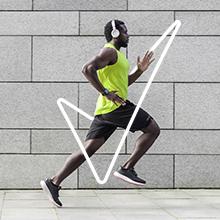 Visual 1: Man running with Degree check mark