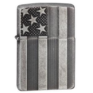 aromor, u.s flag, antique silver pate, armor lighter, zippo