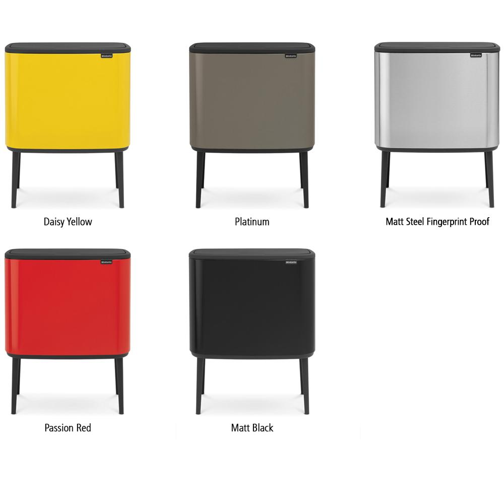 brabantia bo touch bin with plastic l steel passion red 3 inner buckets 3 x 11 l. Black Bedroom Furniture Sets. Home Design Ideas