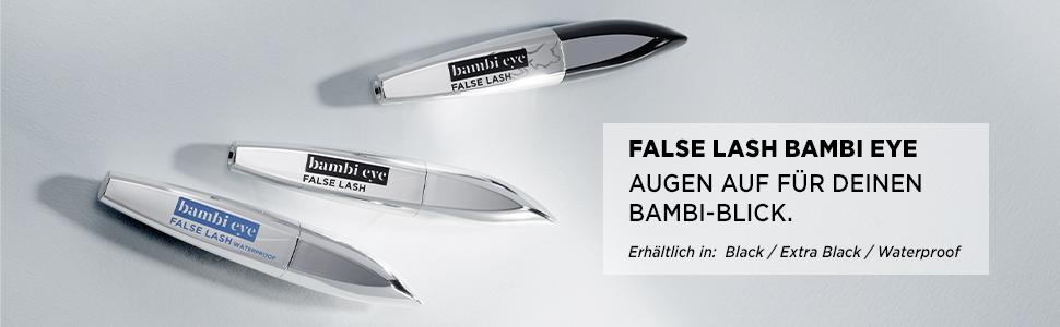 False Lash Bambi Eye, mascara, mascara, waterbestendig, extra zwart, volume, reugen.