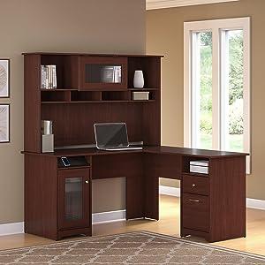 office desk furniture home flanigan bush furniture cabot collection office furniture home office desk amazoncom furniture shaped desk in harvest cherry