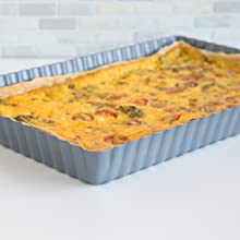 "loose bottom tart pan; loose bottom quiche pan; 11 x 17"" quiche pan; non-stick loose bottom pan"