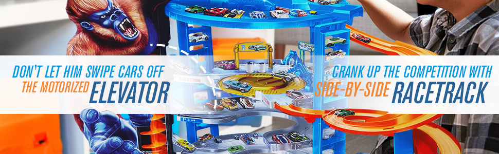 Hot Wheels FDF25 City Toy Garage, Connectable Play Set with 4 Diecast and Mini Toy Cars