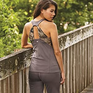 Gunmetal Gray fitted tank has camo accents on the front that leads to wide camo back straps.