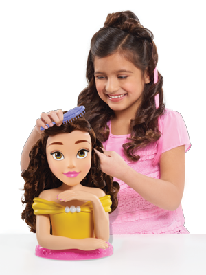 bbb2da20d5 Use your creativity and the hair accessories provided to give Belle an  enchanted Disney makeover! This Deluxe styling head also has colour-changing  ...
