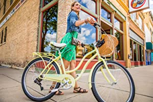 Schwinn Perla Womens Cruiser Bicycle, Featuring 18-Inch Step-Through Steel Frame and 7-Speed Drivetrain with Front and Rear Fenders, Rear Rack, and ...