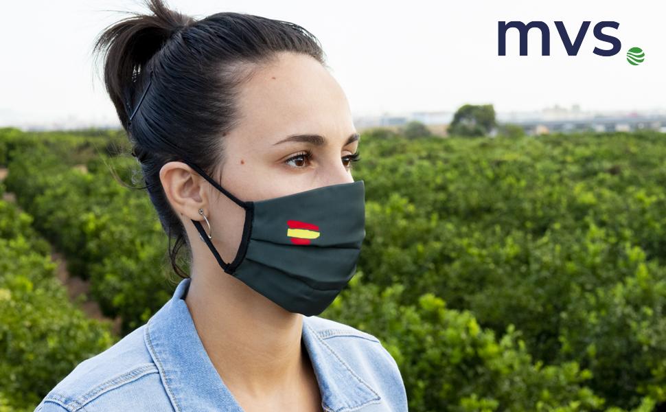 MVS MASH0028 MASH0010 Mascarilla Reutilizable Fibra Sint/ética 100/% TALLA L Militar Bandera Espa/ña