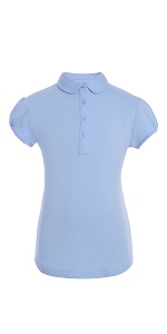Tommy Hilfiger Long Sleeve Interlock Big Girls Fit Polo Shirt Kids School Uniform Clothes