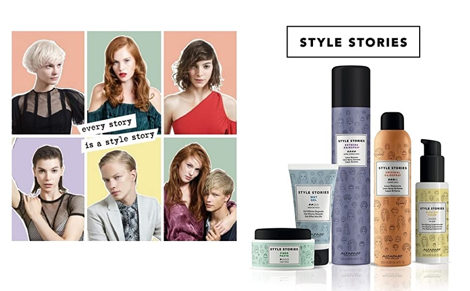 Alfaparf milano style stories hair styling products mousse gel hairspray curl cream paste thermal