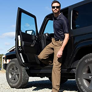 Man in HLX exiting Jeep