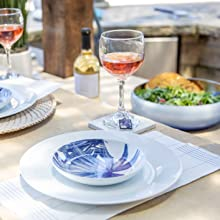 wine table outdoor entertaining salad kitchen blue plate wine charm coaster coastal