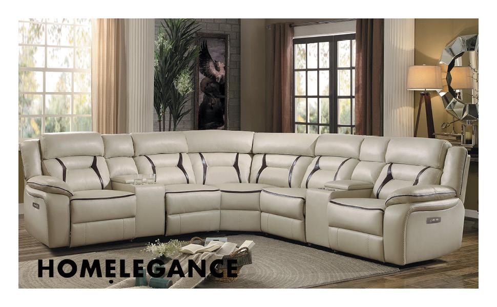 Brilliant Homelegance Amite 119 X 119 Leather Gel Power Reclining Sectional Sofa Beige Ibusinesslaw Wood Chair Design Ideas Ibusinesslaworg
