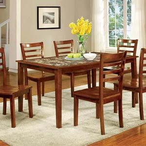 Furniture Of America Tillman 7 Piece Faux Marble Dining Table Set