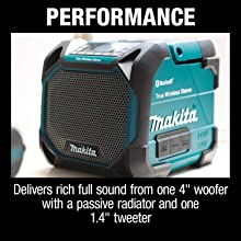 performance delievers rich full sound from one four inch woofer with a passive radiator one tweeter