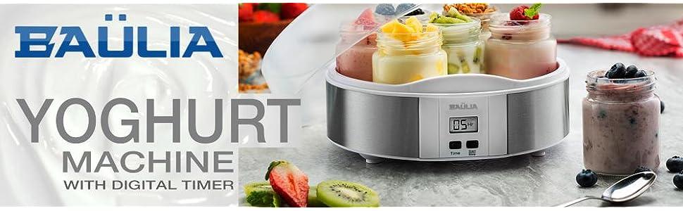 Baulia Digital Yogurt Maker Includes 7 Glass Jars for Making Homemade Yogurt Healthy & Fun to Make