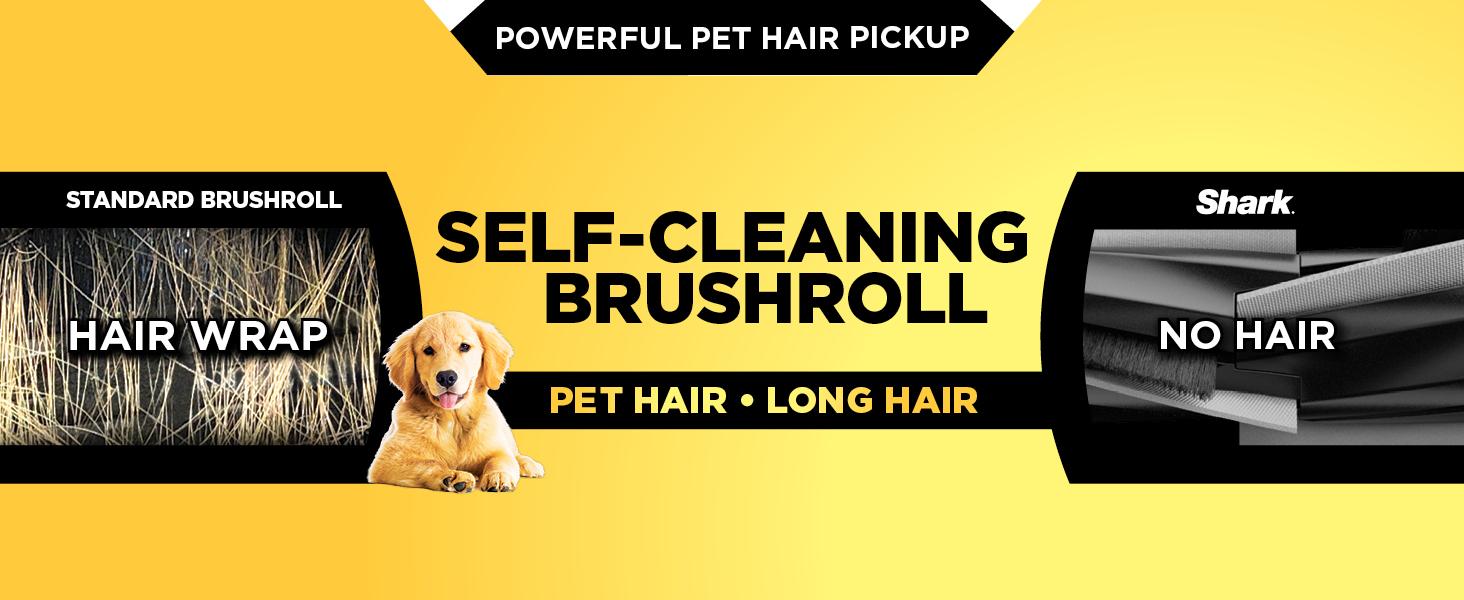 self-cleaning brushroll technology image, showing a shark brushroll without hair wrap