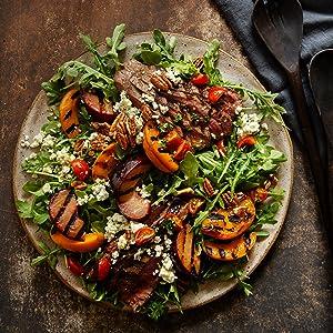 Flat Iron Steak & Grilled Stone Fruit Salad with CBD-Infused Honey Apple Cider Vinaigrette