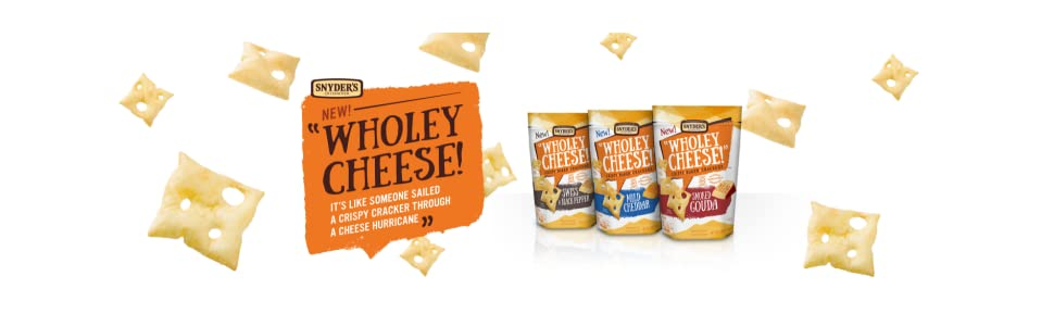 Wholey Cheese, cheese crackers, cheddar, gouda, swiss, gluten free, snacks, snyder's of hanover