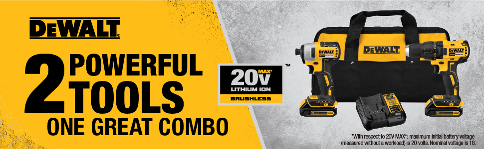 dewalt 20v combo kit, lithium ion combo kit, drill and impact kit