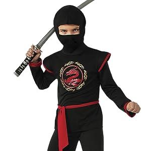 Rubies - Disfraz de ninja rojo con calavera para niño, infantil M (5-7 años)