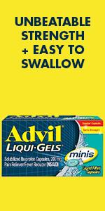 Advil liqui gel minis, easy to  swallow