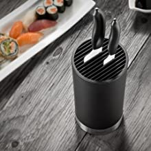 Attractive, compact knife block that protects knives
