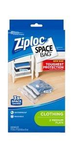 Ziploc Space Bag, Flat, Medium, 2 Count