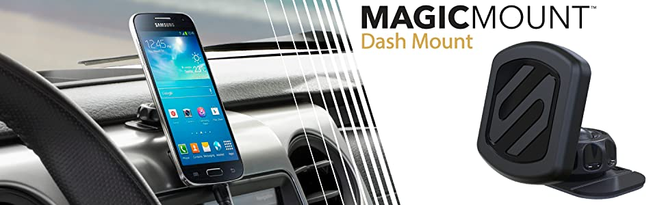 samsung smart phone on scosche magicmount dash in vehicle with gps navigation