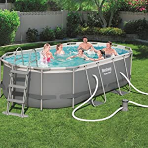 Bestway 56620 Piscina Power Steel Oval, M: Amazon.es: Jardín