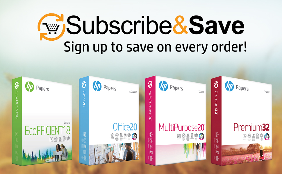 Subscribe & Save up to 15% on every order- EcoFFICIENT18, Office20, MultiPurpose20 & Premium32 reams