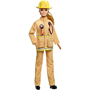 Wearing Firefighter Uniform and Hat Blonde Barbie® FIREFIGHTER DOLL