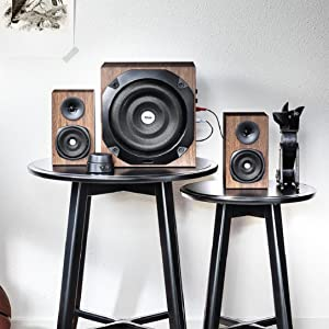 Trust Vigor 2 1 PC Speaker System with Subwoofer for Computer and Laptop,  100 W, UK Plug - Brown