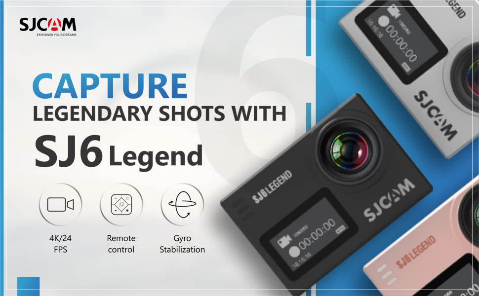 "SJCAM SJ6 Legend 16 MP 4K 24fps 2.0"" LCD Touch Screen Action Camera SPN-FOR1"