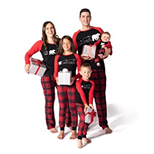 Family wearing JumpOff Jo matching pajama sets for Christmas photo