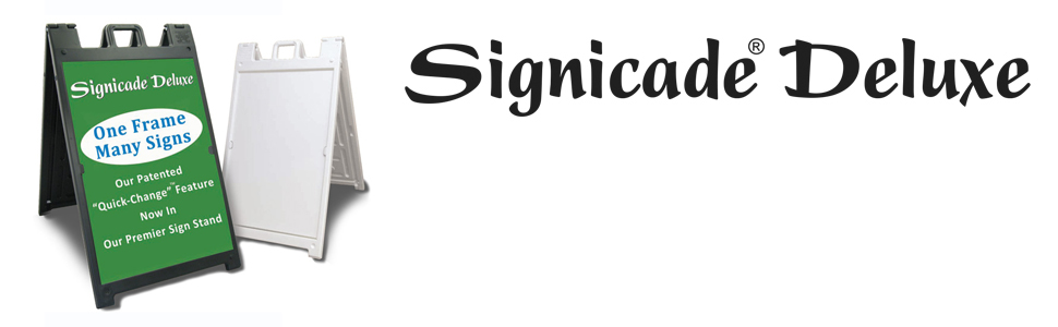Deluxe Signicade A-Frame Sidewalk Curb Sign with Quick-Change System, Black