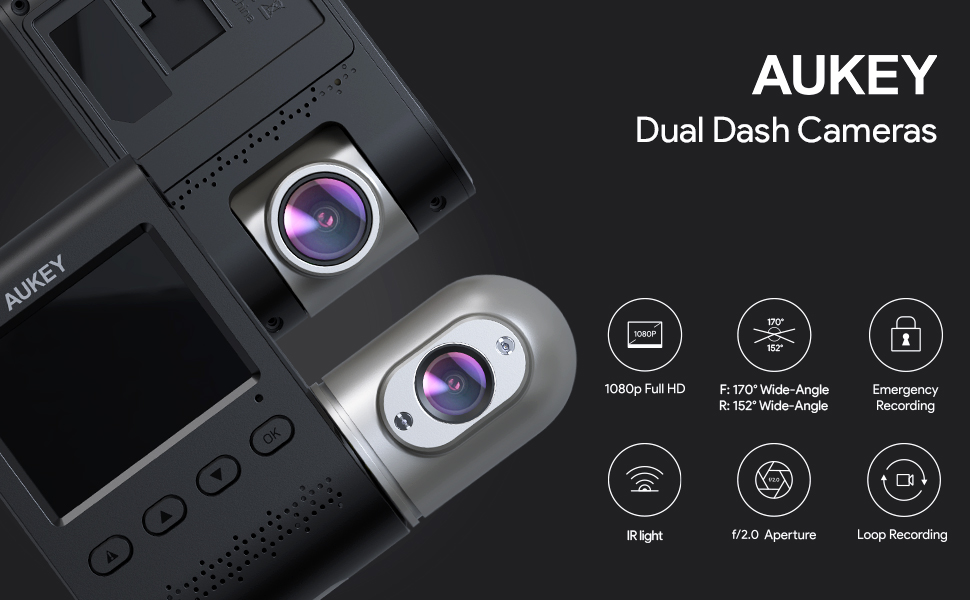 Loop and Dual-Port Car Charger WDR AUKEY Dual Dash Cams 3 in 1 FHD 1080p IR Night Vision Car Camera 170 Degrees Wide-Angle Dash Cameras for Cars with Supercapacitor G-sensor Motion Detection