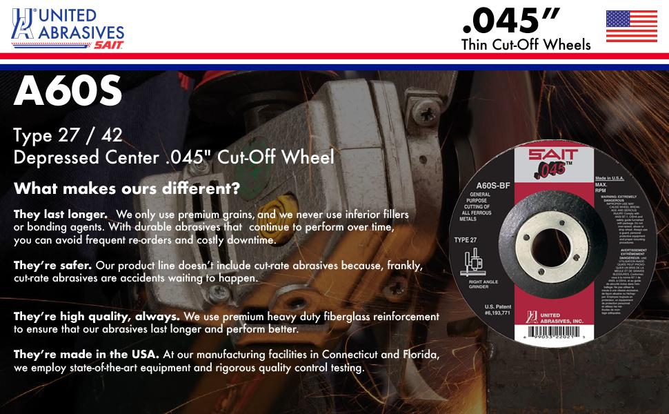 """Sait 22053 7/"""" x .045/"""" x 7//8/"""" Type 27 A60S Metal Cut-Off Wheels PK-10"""
