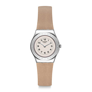 lady, watch, swatch, metal, brown
